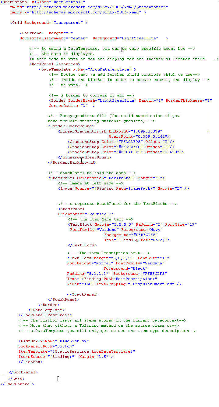 ScreenShot of the XAML Markup