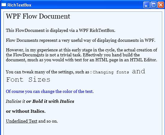 Windows Presentation Foundation: FlowDocuments (Part 1)